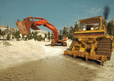 Excavator and Bulldozer in Winter